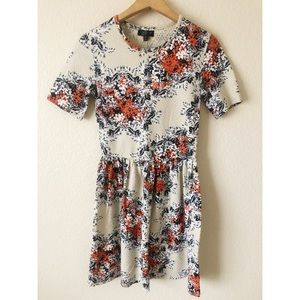 TOPSHOP size 2 floral and cream dress